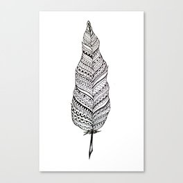Aztec black and white feather Canvas Print