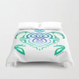 Tribal Turtle on White Duvet Cover