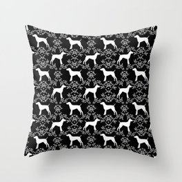German Shorthair Pointer dog breed floral silhouette black and white dogs pattern gifts Throw Pillow