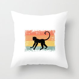 Vintage Monkey Primate Animal Gift Idea Throw Pillow