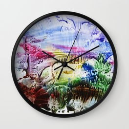 abstract composition of red and blue colours . artwork Wall Clock