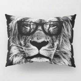 Hipster Lion Black Pillow Sham