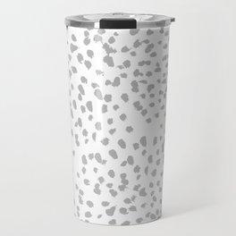 grey spots minimalist decor modern gifts grey and white polka dot brushstroke painting Travel Mug