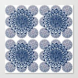 Navy and White Floral Mandalas Canvas Print