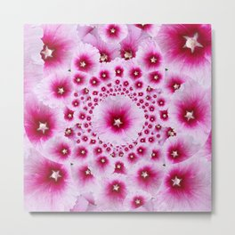 GEOMETRIC FUCHSIA-PINK HOLLYHOCK  PATTERNS Metal Print
