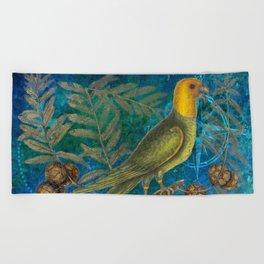 Carolina Parakeet with Cypress, Antique Natural History and Botanical Beach Towel