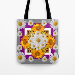 GREY & WHITE DAISIES FLORAL ABSTRACT & YELLOW SUNFLOWERS Tote Bag
