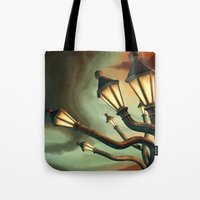 drunk Tote Bags featuring Drunk Streetlamps by Remus Brailoiu