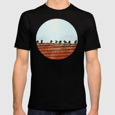 Birds on a Rooftop MEDIUM Mens Fitted Tee Black