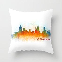 Atlanta City Skyline Hq v3 Throw Pillow