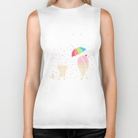 sprinkles Biker Tanks featuring Cloudy With A Chance of Sprinkles by Monica Gifford