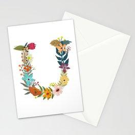 Monogram Letter U Stationery Cards