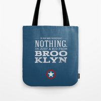 steve rogers Tote Bags featuring Steve Rogers by Bonnie Detwiller