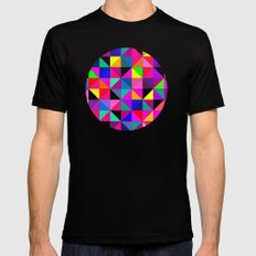 pink Abstract MEDIUM Black Mens Fitted Tee