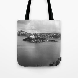 Mountain Lake View B&W Tote Bag