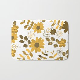 Big Yellow and Brown Flowers Bath Mat
