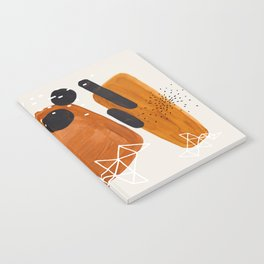 Fun Mid Century Modern Abstract Minimalist Vintage Brown Organic Shapes With Geometric Patterns Notebook