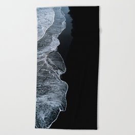 Waves on a black sand beach in iceland - minimalist Landscape Photography Beach Towel