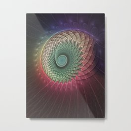 Abstract And Colorful Snail, Fractal Art Metal Print