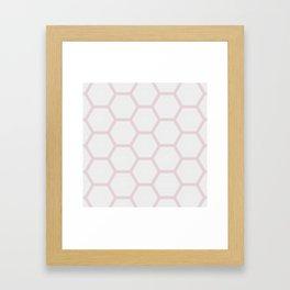 Pink White Marble Geometric Pattern Framed Art Print