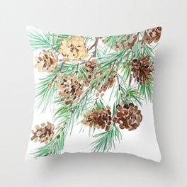 pine cones watercolor Throw Pillow