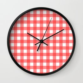Plaid (Red & White Pattern) Wall Clock