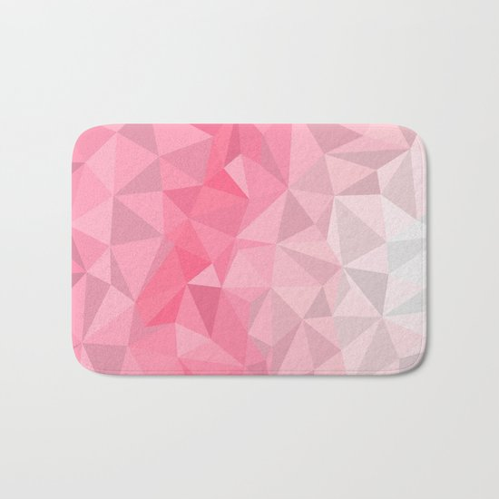 Pink Polygon Bath Mat