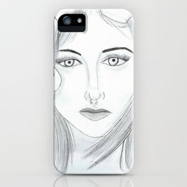 Woman with goat horns iPhone Case