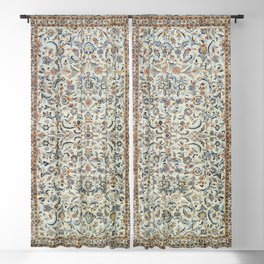 Central Persia Old Century Authentic Colorful Muted Dusty Cream Grey Vintage Rug Pattern Blackout Curtain