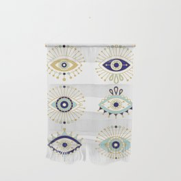 Evil Eye Collection on White Wall Hanging