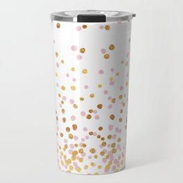 Floating Dots - Pink and Gold on White Travel Mug