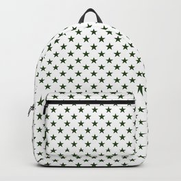 Dark Forest Green Five Pointed Stars on White Backpack