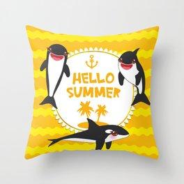 Hello Summer, Kawaii orca Throw Pillow