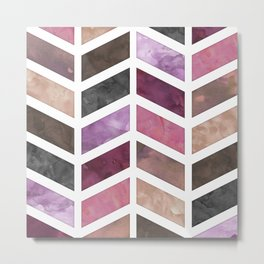 Pink & Brown Digital Watercolor Chevron Pattern Metal Print
