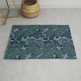 Tropical Blue and Turquoise Monstera Plant Pattern Rug