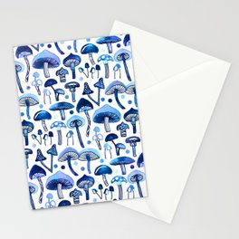 Blue Mushrooms Stationery Cards