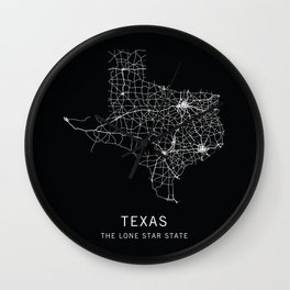 Texas State Road Map Wall Clock