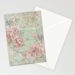 Shabby Chic Collage - Pink Roses Stationery Cards