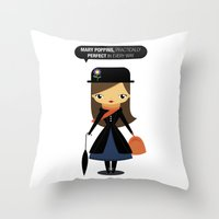 mary poppins Throw Pillows featuring Mary Poppins by oyoyoi