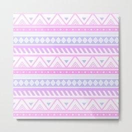 Pretty Pink & Lilac Tribal Pattern  Metal Print