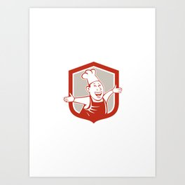 Chef Cook Happy Arms Out Shield Cartoon Art Print