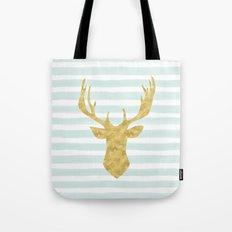 Gold Deer on Mint Watercolor Stripes Tote Bag