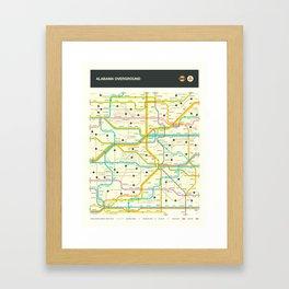 ALABAMA HIGHWAY MAP Framed Art Print