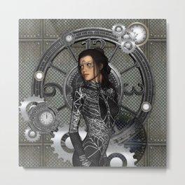 Steampunk, steampunk lady Metal Print