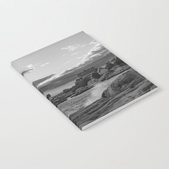 Annisquam Lighthouse Black and white Notebook