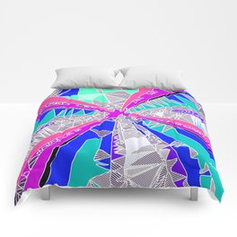 psychedelic geometric pattern drawing abstract background in blue pink purple Comforters