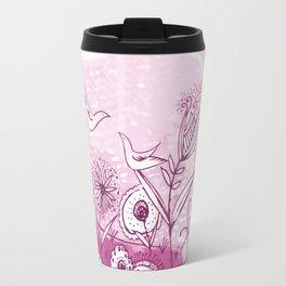 Bird and Flower Pink Friendship and Love Art Travel Mug