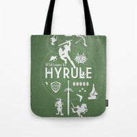 hyrule Tote Bags featuring Welcome To Hyrule by s2lart