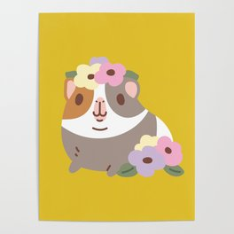 Guinea pig and flowers Poster