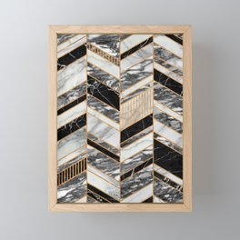 Abstract Chevron Pattern - Black and White Marble Framed Mini Art Print